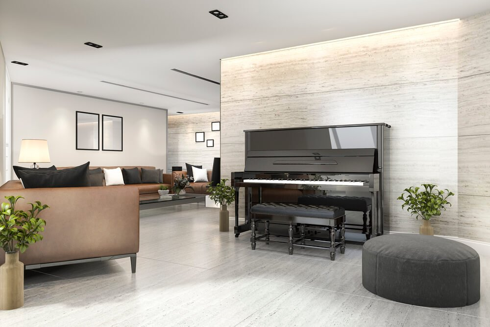 Piano being showcased In large living area