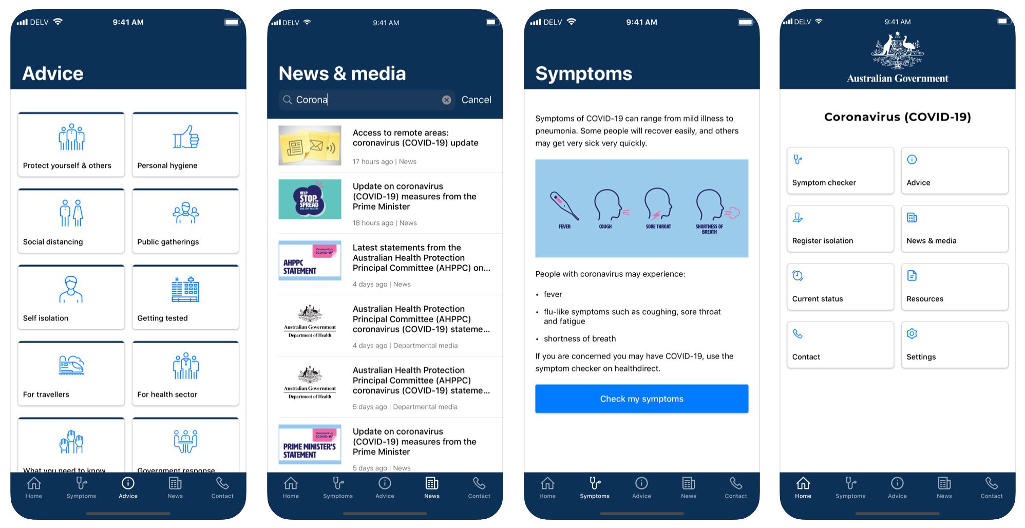 Coronavirus Australia app screenshots