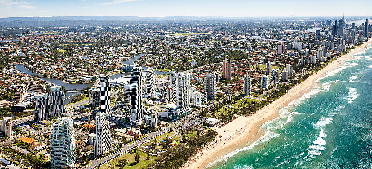 Aerial photo of the Gold Coast