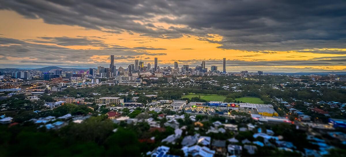 Brisbane suburbs at sunset