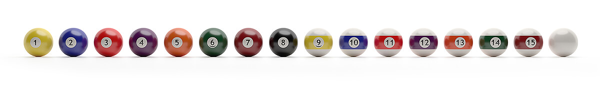 Line of 16 billiard balls on white background