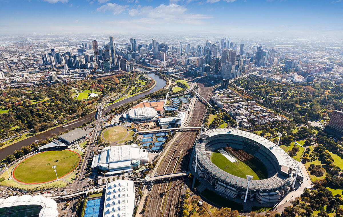 A sunny aerial photo of Melbourne, Australia - Moving to Melbourne from Brisbane - Austate Removals