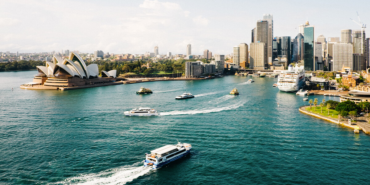 View of Sydney Harbour and Opera House from the bridge
